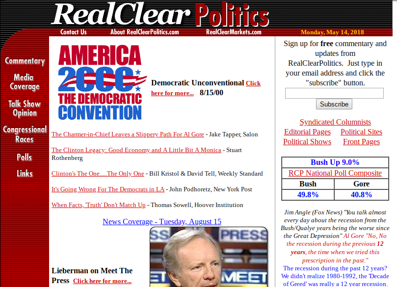 The RealClearPolitics homepage shortly after it launched in 2000