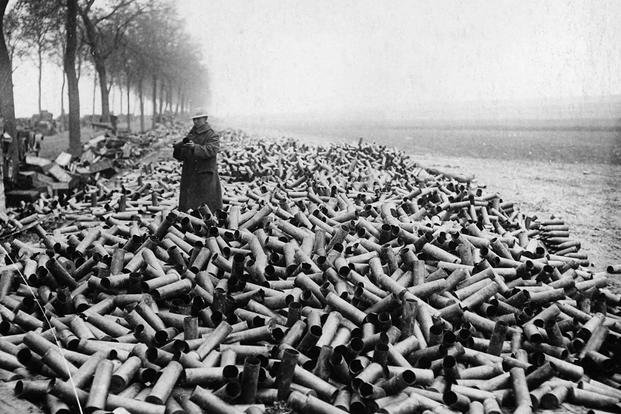 Spent shells at the front
