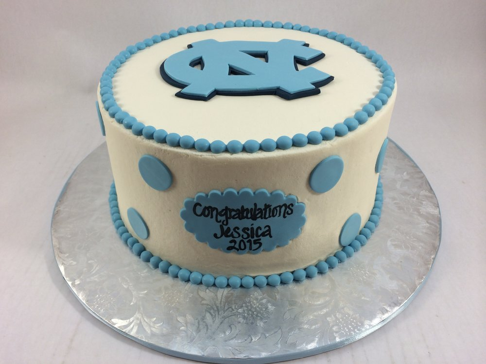 Cake UNC with polka dots.JPG