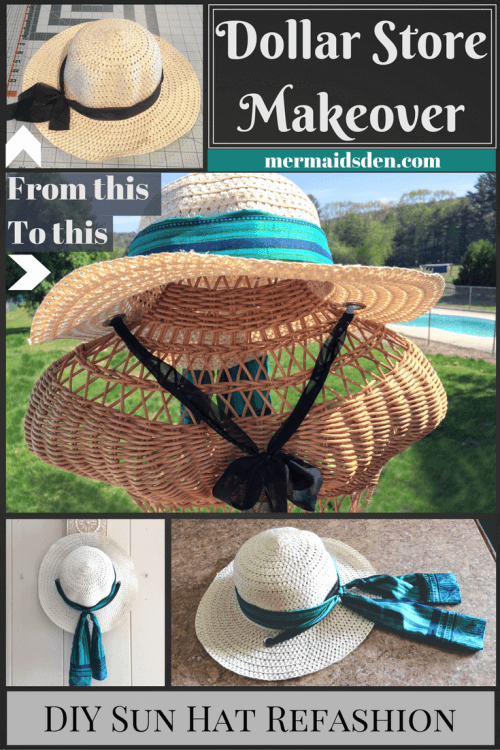 Easy DIY Dollar Store Sun Hat Makeover / Refashion Tutorial: Add a Silk Ribbon and Chin Strap