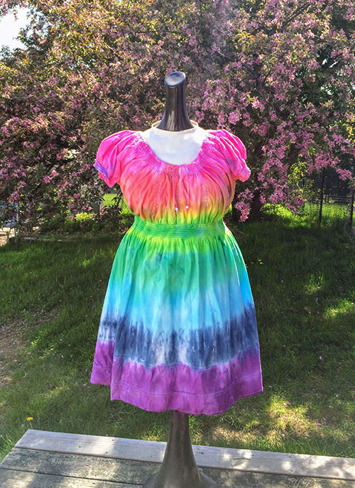 Thrift Store Refashion: Rainbow Tie Dye for a Boring White Dress