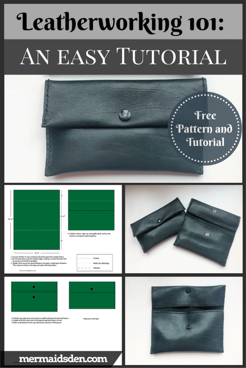 Leatherworking 101: An Easy Pouch for Beginners. Free pattern and tutorial. Simple leathercrafting project with upholstery leather.