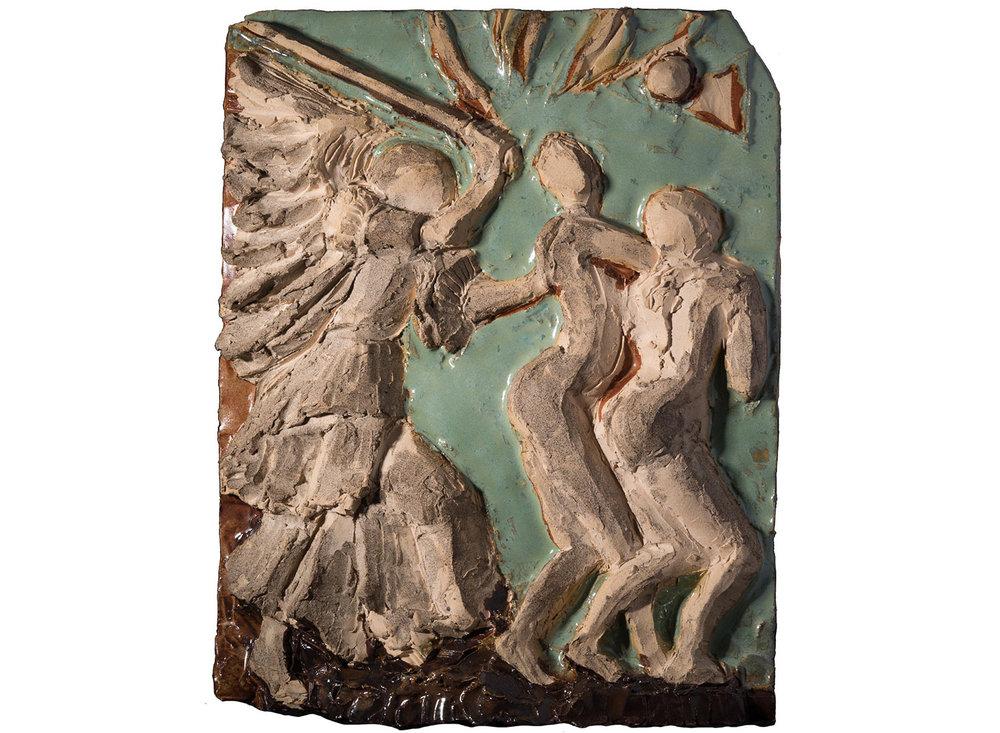"Expulsion (after Durer), 2017.   Glazed stoneware ceramic, 13"" x 11"""
