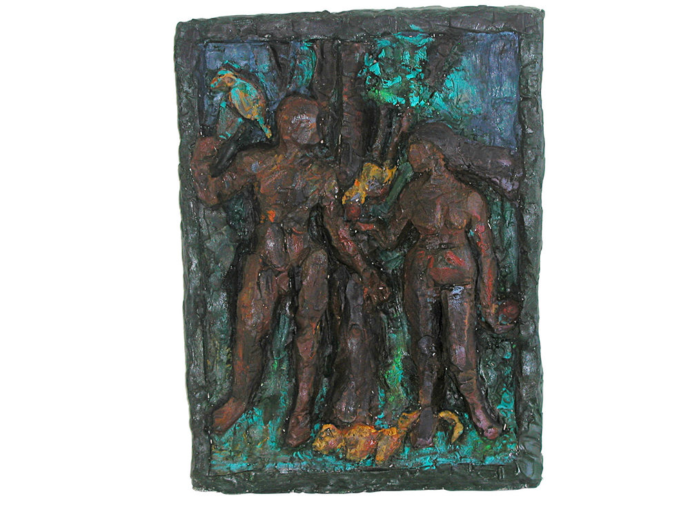"Adam and Eve, 2007.   Oil on terracotta, 18"" x 13"" x 3"""