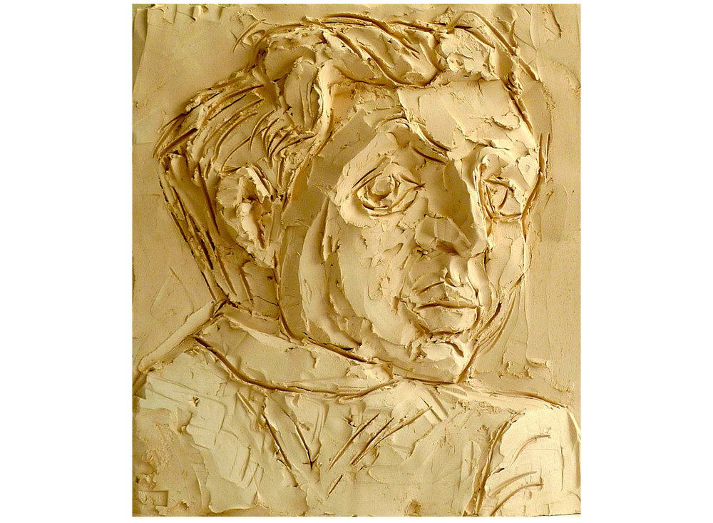 "Beckmann Drawing II, 2010.   Terracotta, 16"" x 15"" x 1.5"""