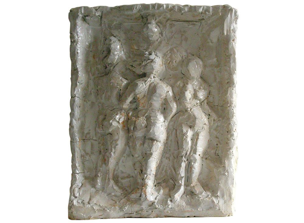"The 4 Graces, 2007.   Glazed terracotta, 11"" x 15"" x 4"""