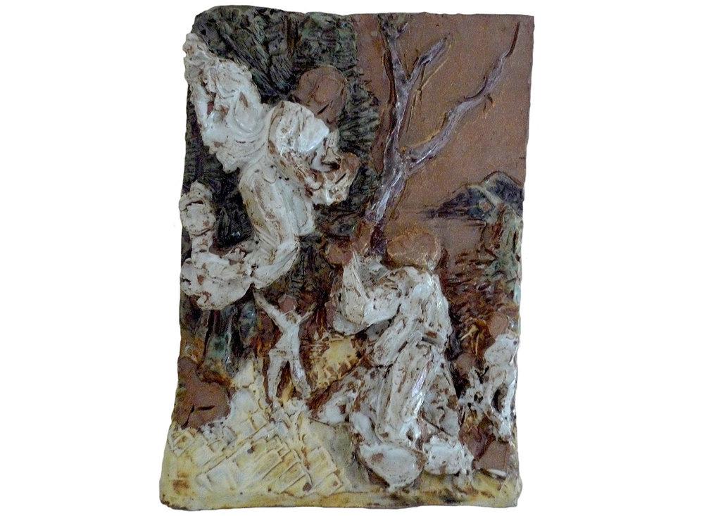 """After Durer, 2012.   Glazed stoneware ceramic, 11"""" x 15"""" x 2"""""""