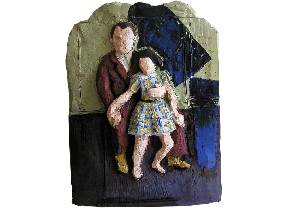 "Bob and Issy (after Balthus), 2009.   Oil on terracotta, 12"" x 19"" x 2"""