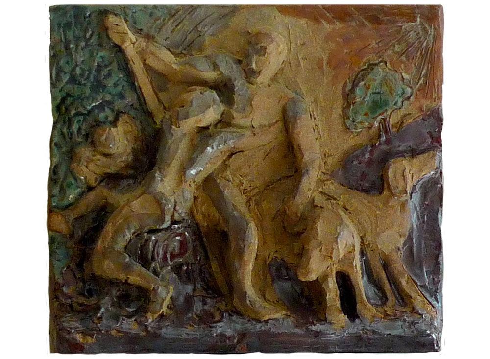 """After Titian, 2011.   Glazed stoneware, 12"""" x 11"""" x 3"""""""