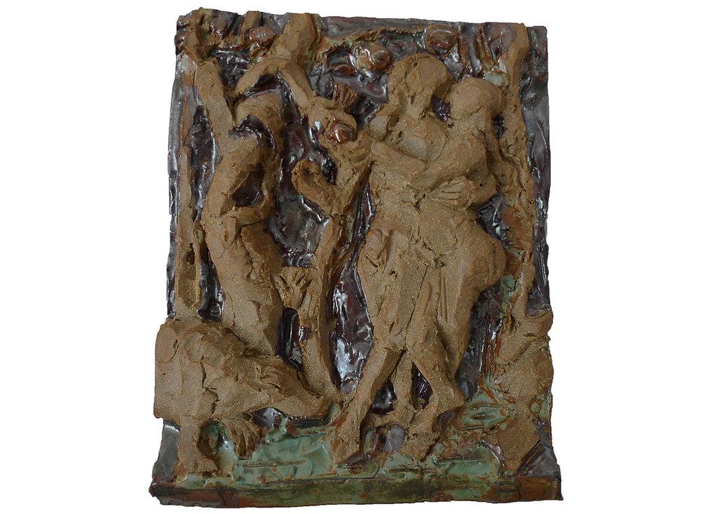 """Adam and Eve, 2011.   Glazed stoneware, 12"""" x 13"""" x 3"""""""