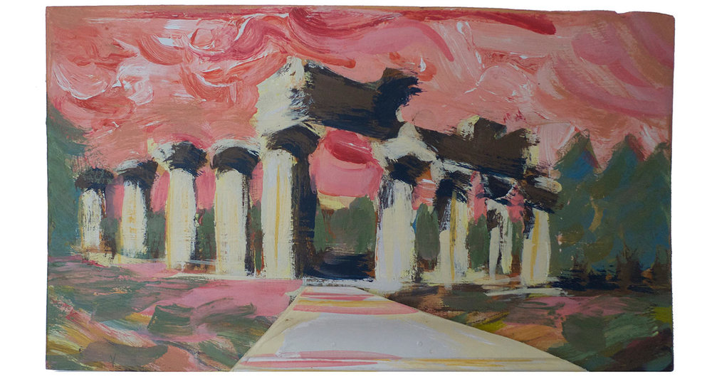 "Temple of Zeus, 2015.   Pittsburgh Paint on Wood with Molding, 22"" x 18"""