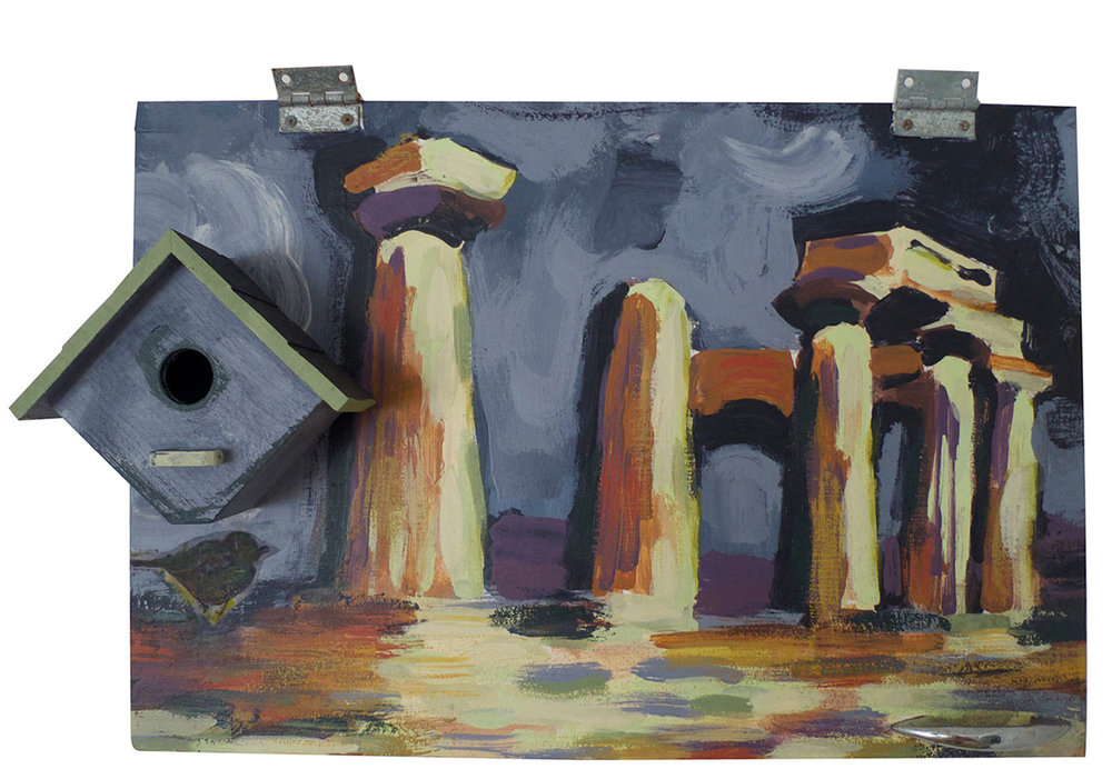 "Temple of Apollo @ Corinth with Wren, 2015.   Pittsburgh Paint on Cabinet with Molding, 24"" x 16"""