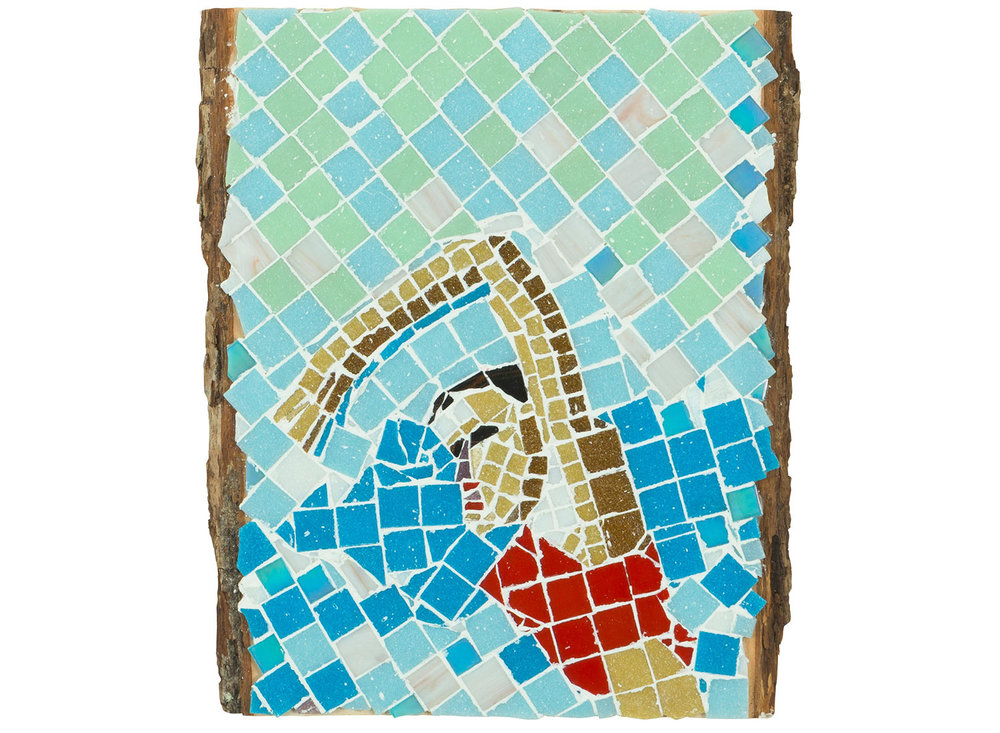Race Swim, 2017.   Mosaic on board, 11 inches x 12.5""