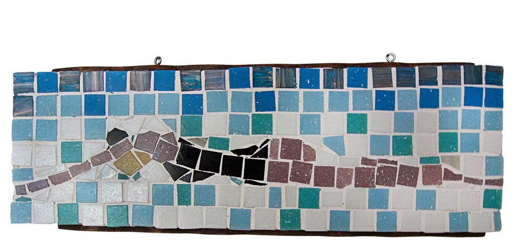 "Swimmer, 2016.   Mosaic, 19"" x 8"""