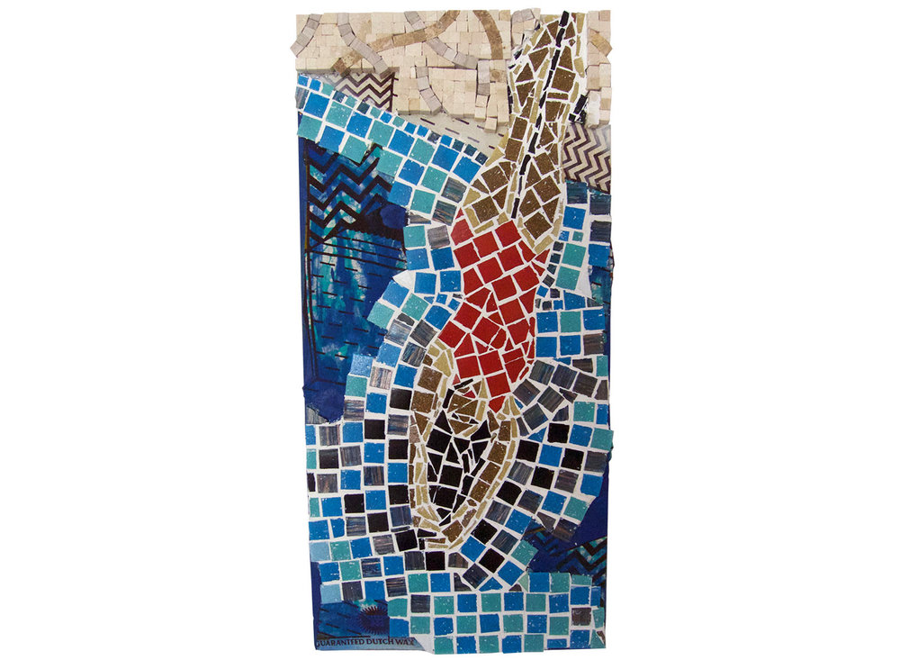 "Diving, 2016.   Mosaic and fabric, 12"" x 24"""