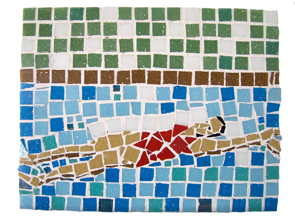 "Backstroke, 2016.   Mosaic, 14.5"" x 12"""