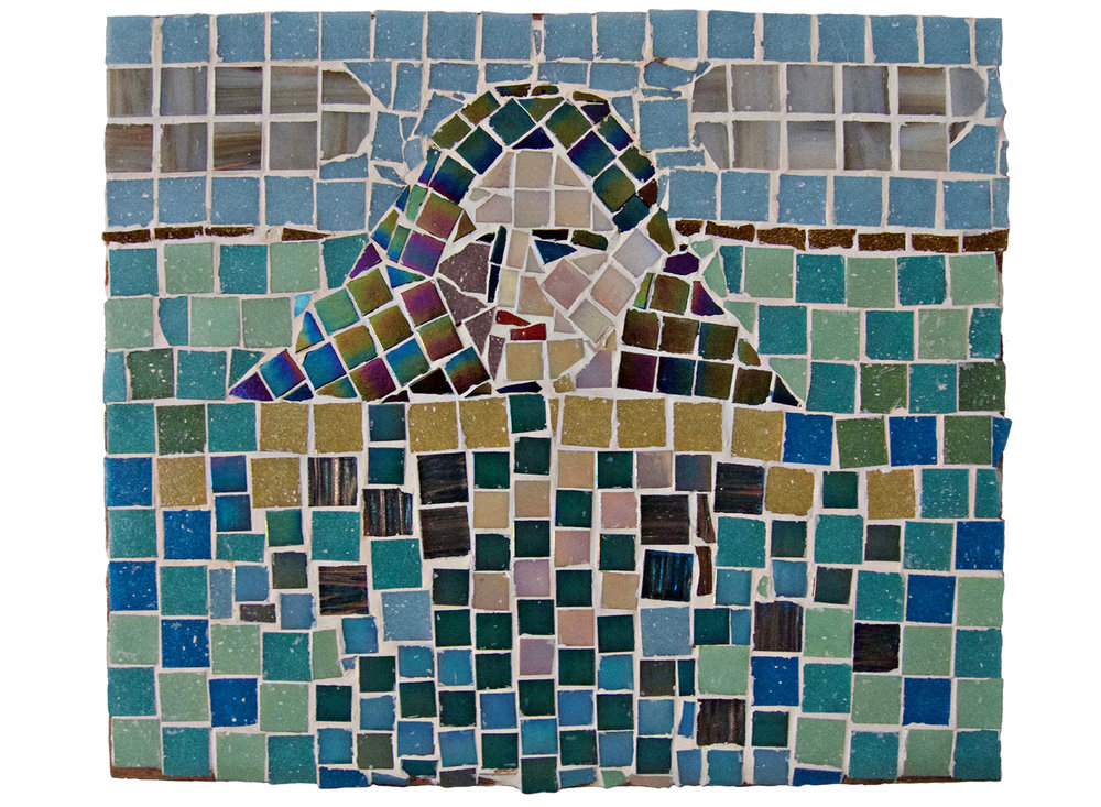 "Portrait in Water, 2016.   Mosaic, 14"" x 12"""