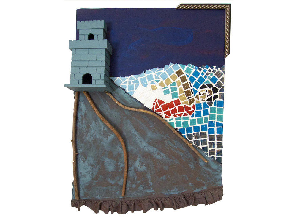 "Escape from the Castle, 2016.   Mosaic, fabric, paint and wood, 18"" x 24"""