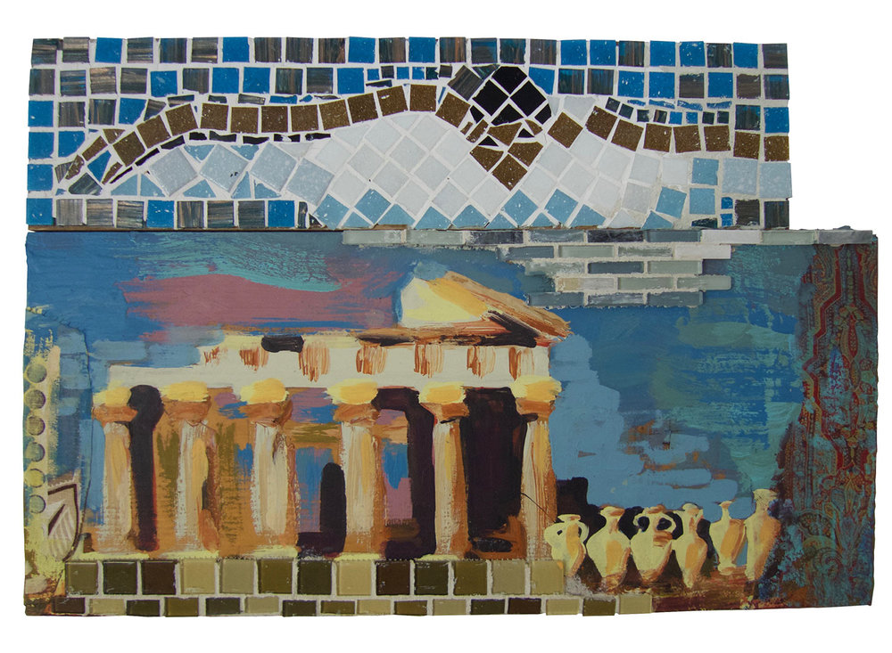 "Breaststroke over the Temple of Athena, 2016.   Mosaic, paint & fabric, 24.5"" x 17"""