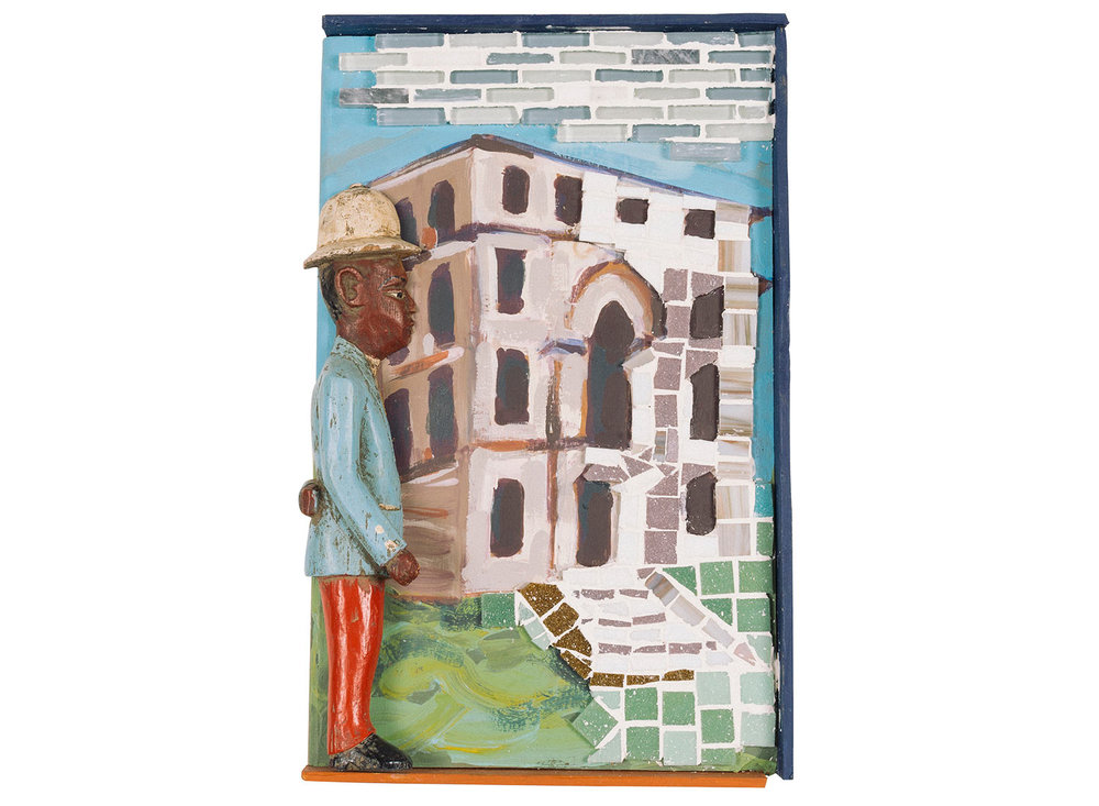 "Renting at the Italianate Villa, 2016.   Mosaic, paint and Colon figure, 11"" x 17.5"""