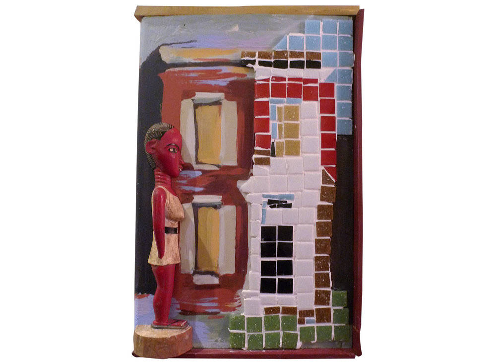 "Mademoiselle at Townhouse, 2016.   Mosaic and Pittsburgh paint and Colon figure, 8"" x 12"""