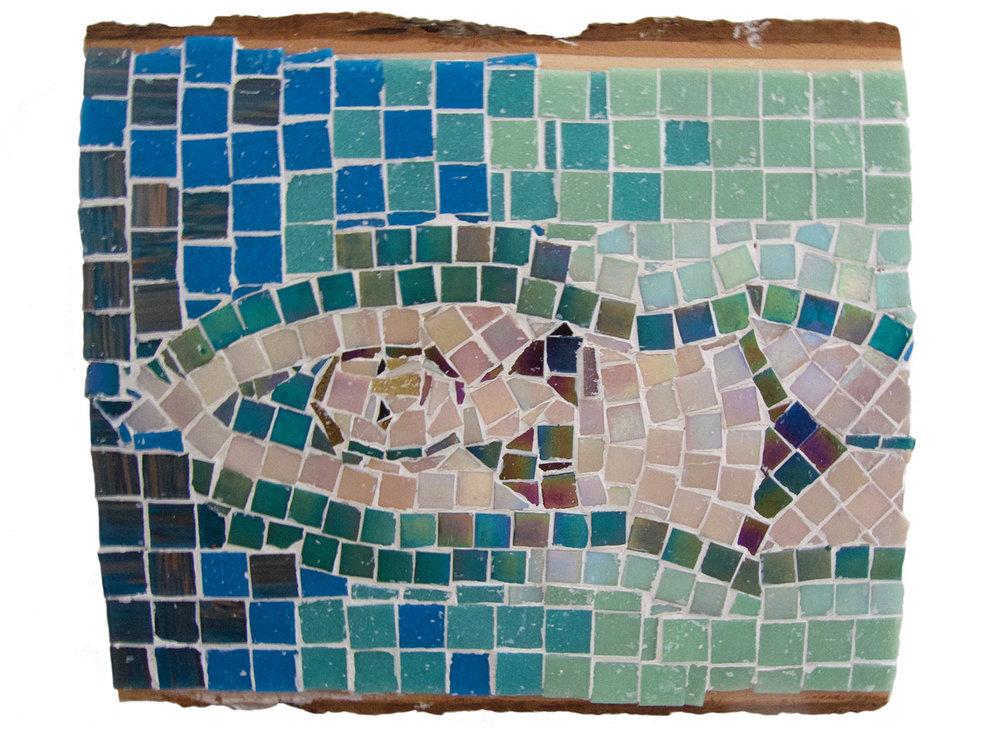 """Floating, 2016.  Mosaic, 13"""" x 12.5"""""""