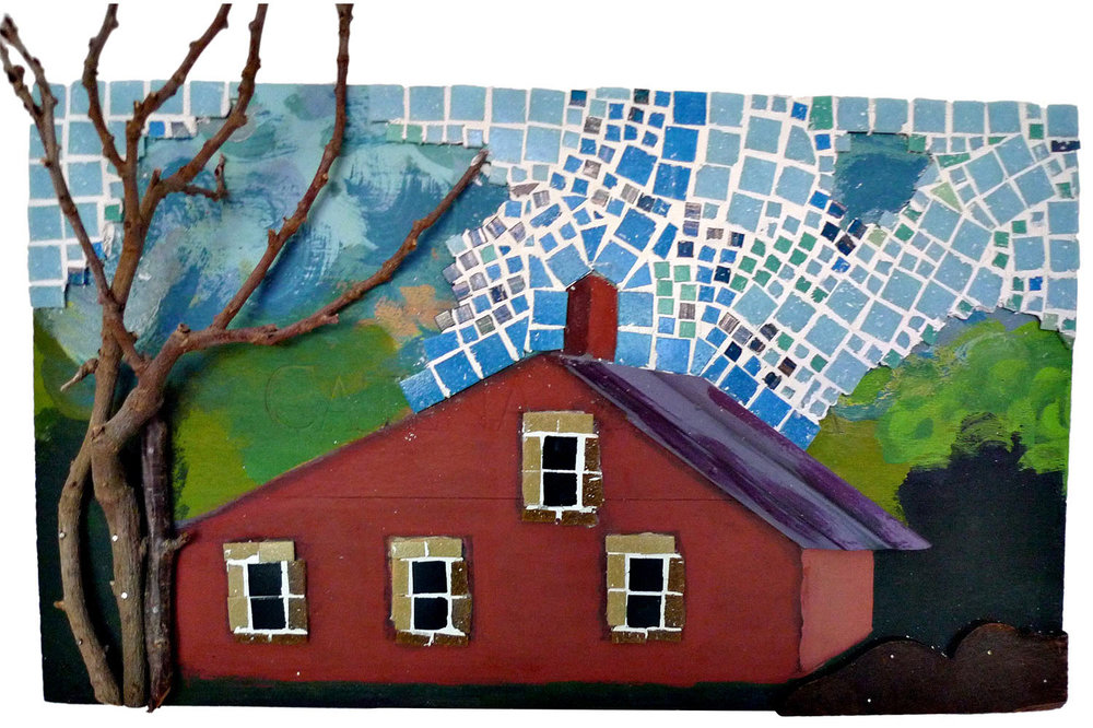 "Prescott Farm, 2016  Mosaic, paint & wood, 23.5"" x 13.5"""