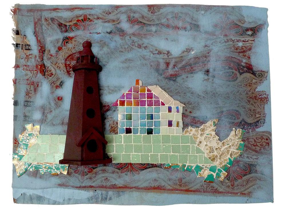 "Limerick Island, Rhode Island, 2016  Mosaic, wood and Etro scarf,22.5 x 16.5"""