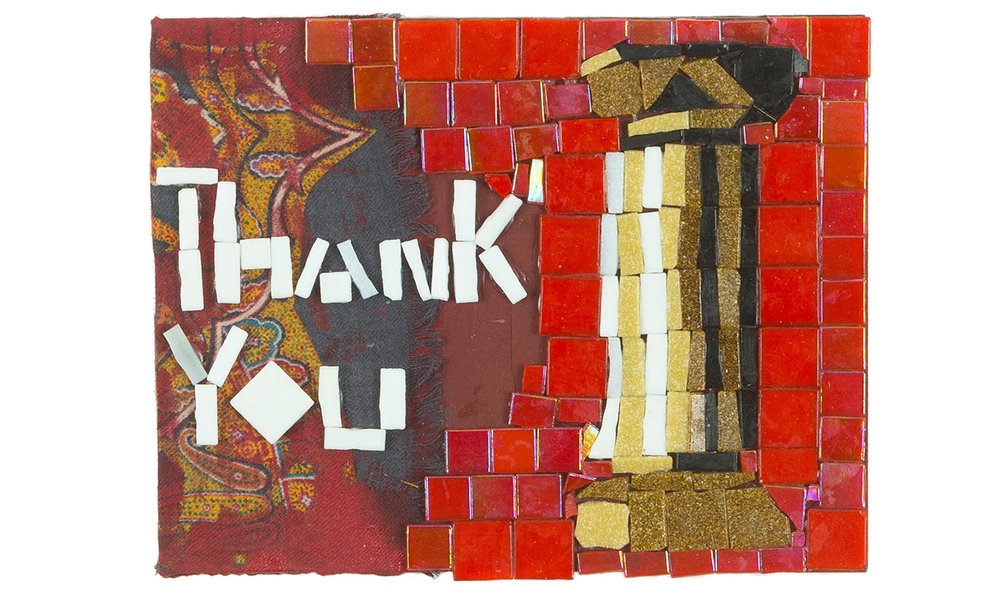 "Column, 2017  Mosaic and paisley on wood,9"" x 7"""