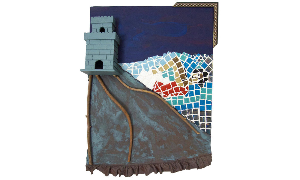 "Escape from the Castle, 2016  Mosaic, fabric, paint and wood, 18"" x 24"""