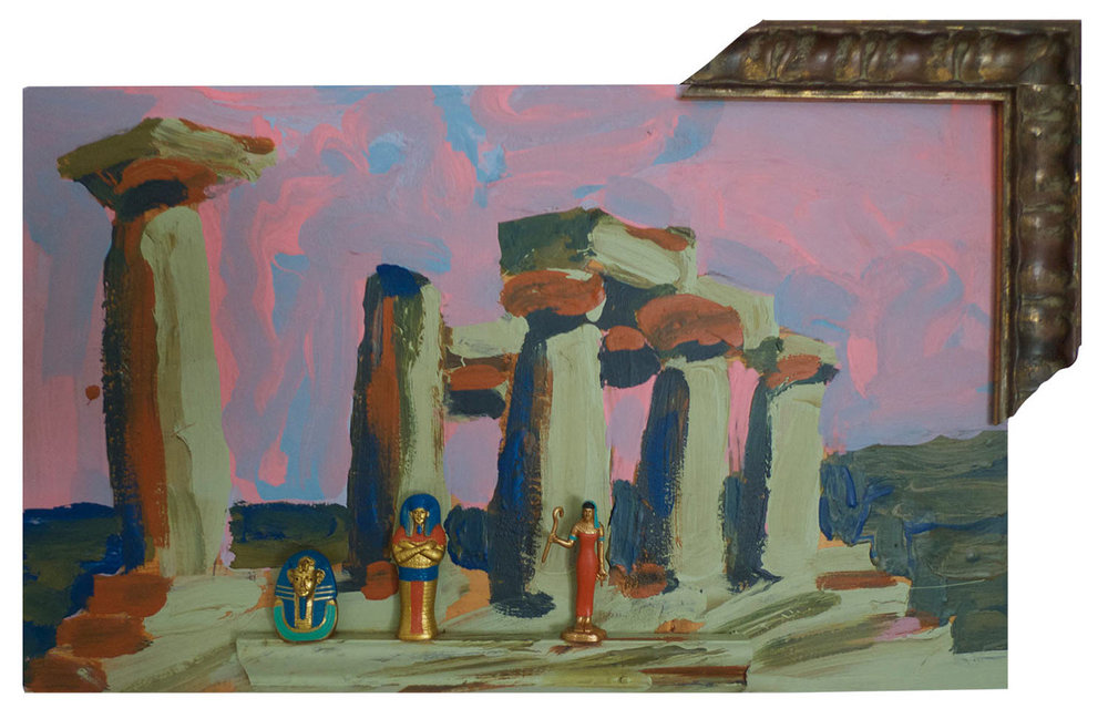 "Egyptian Delegation @ the Temple of Apollo @ Corinth, 2014.  Pittsburgh paint on wood. 16"" x 10"""