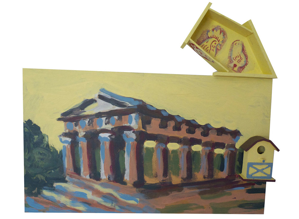 "Chick-a-dees @ the Temple of Apollo, 2015.  Pittsburgh paint on wood with fabric. 22"" x 13"""