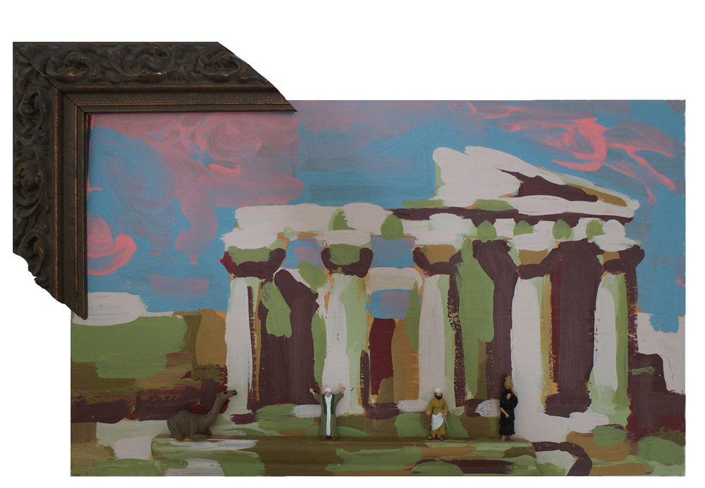 """Sacred Pilgrimage to Athens, 2014.  Pittsburgh paint on wood. 12"""" x 9"""""""