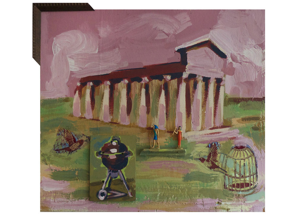 """Burnt Offerings @ the Temple of Athena Nike, 2014.  Pittsburgh paint on wood. 20"""" x 19"""""""