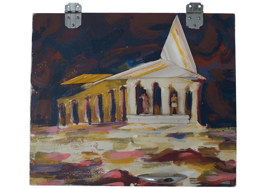 "Evening Visit to the Parthenon, 2015.  Pittsburgh paint on cabinet with molding. 18"" x 15"""