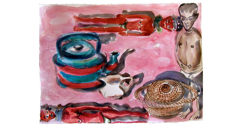 "Seeing Pink, 2009.  Watercolor. 26"" x 20"""