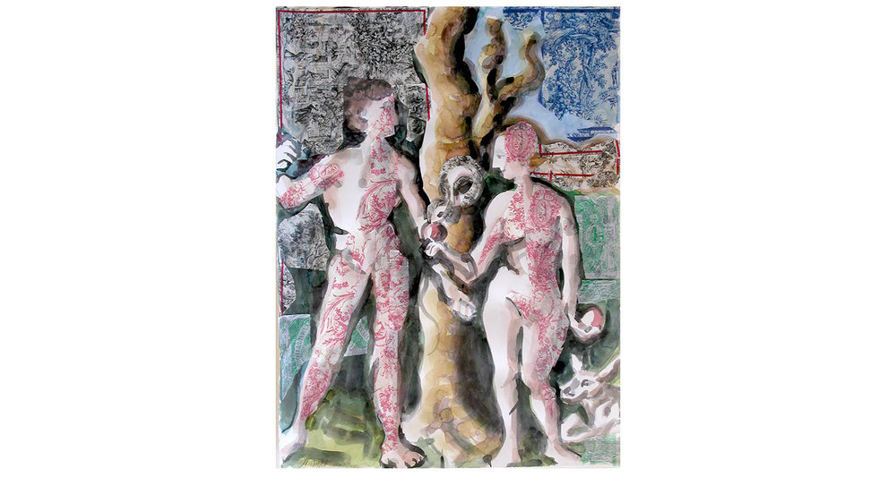 "Adam and Eve, 2007  Watercolor and collage, 22"" x 30"""