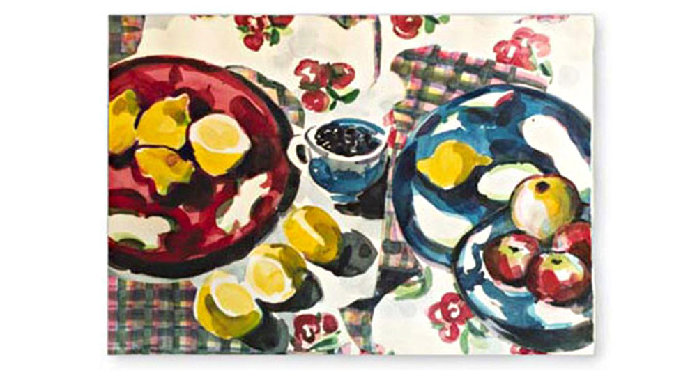 "Blueberries, 2002.  Watercolor and collage on paper. 26"" x 20"""