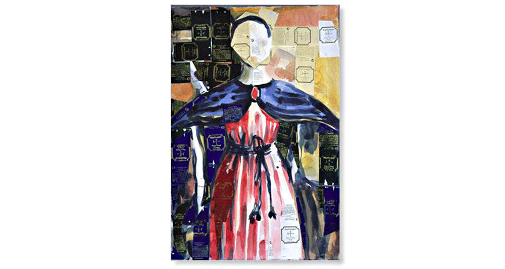 """Summoning Piero, 2005.  Watercolor and collage. 15"""" x 22"""""""