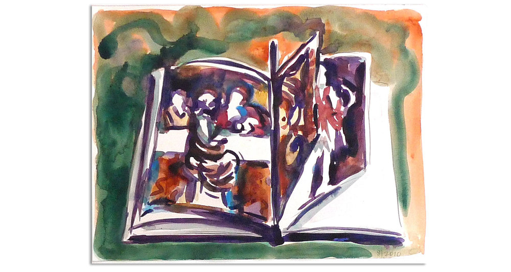 "Castagno's Last Supper, 2010.  Watercolor and collage. 18"" x 14"""