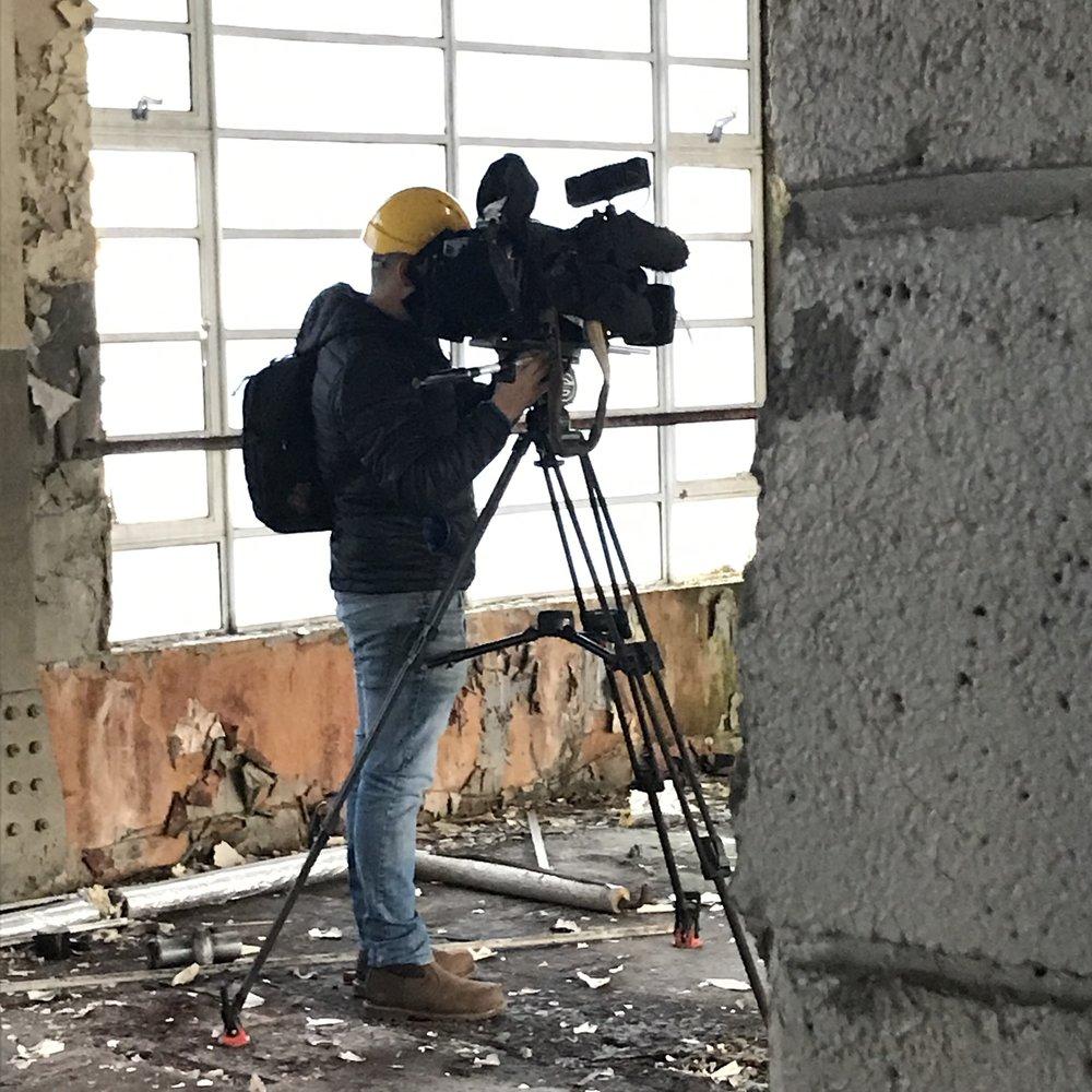 Cameraman, Andrew from ITV Border at the Keswick Pencil Factory