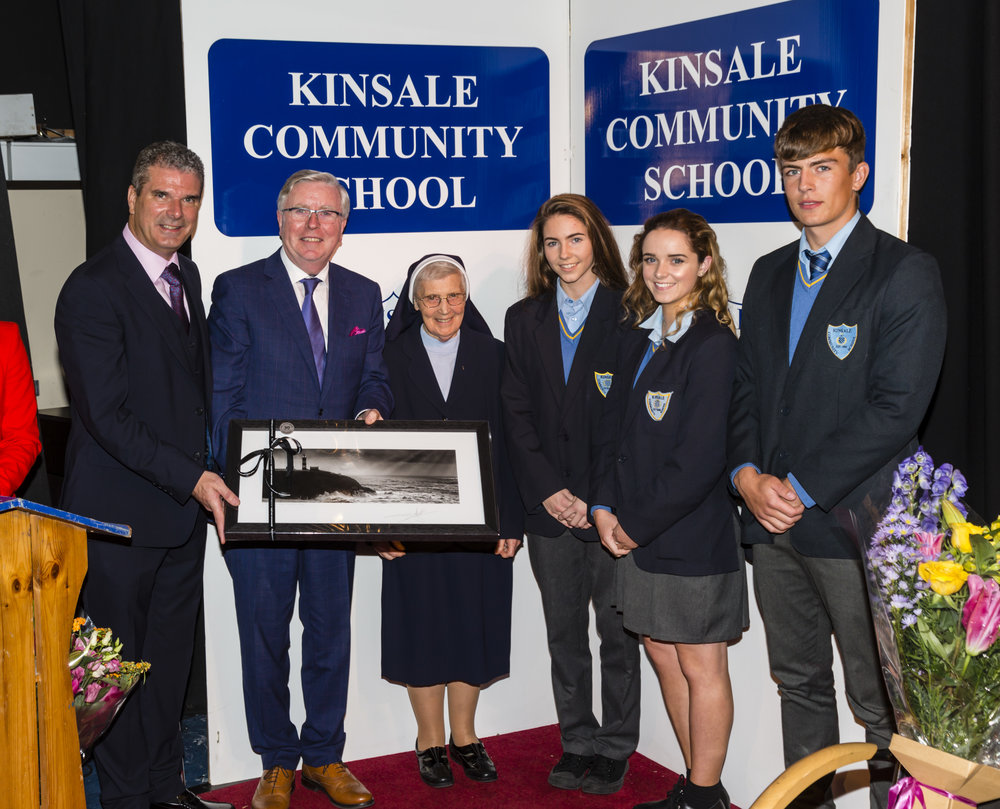 Student Council Members making a presentation to Guest of Honour Pat Cox.jpg
