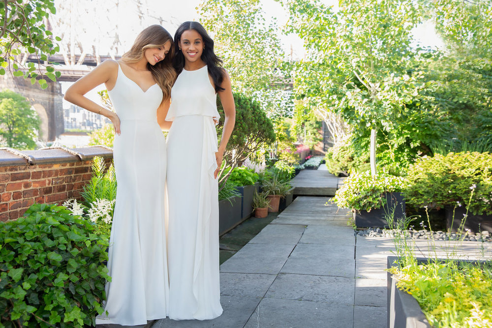 Hayley Paige Occasions Bridesmaids Styles 5852 and 5850 in ivory satin and chiffon at Gilded Social