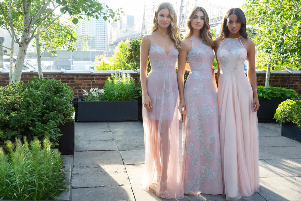Hayley Paige Occasions Bridesmaids Styles 5865, 5853 and 5851 in blush and dusty rose pink floral caviar at Gilded Social