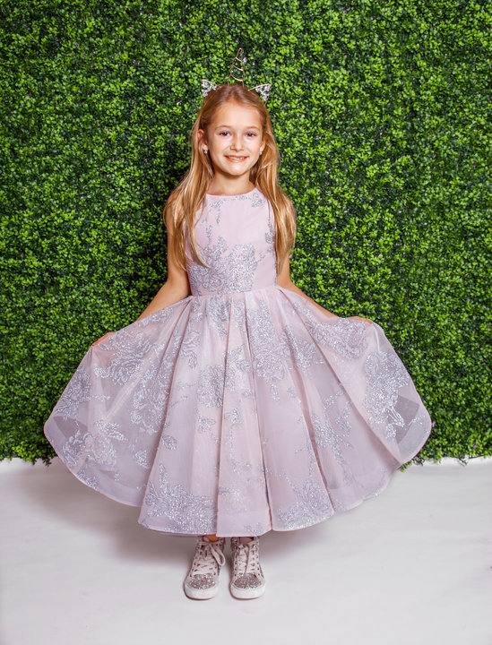 La Petite Hayley Paige flower girl Style 5821 Charlie in blush over dusty rose floral caviar at Gilded Social