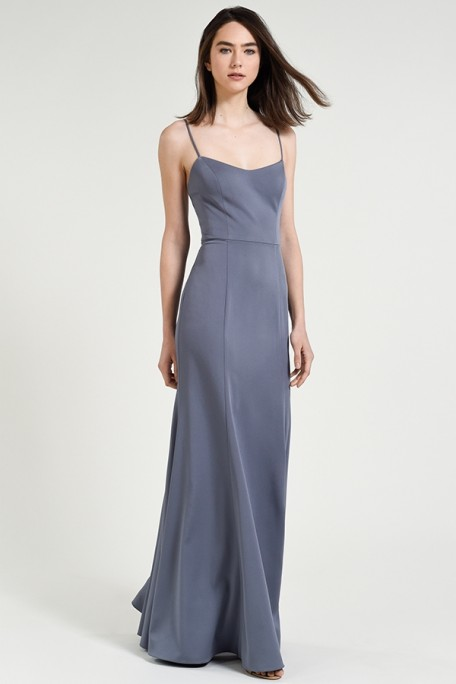 Jenny Yoo Bridesmaids Aniston in Hydrangea dusty blue gray color luxe crepe at Gilded Social