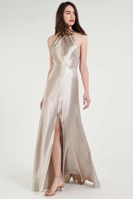 Jenny Yoo Bridesmaids Cameron in Latte metallic taupe color satin back crepe at Gilded Social