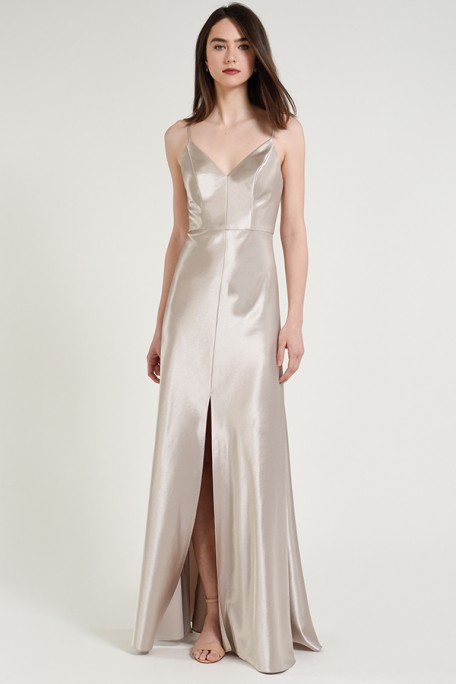 Jenny Yoo Bridesmaids Dina in Latte metallic taupe color satin back crepe at Gilded Social