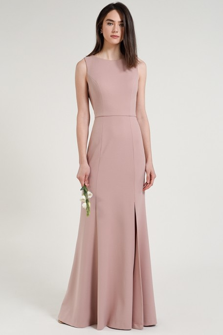 Jenny Yoo Bridesmaids Gia in Whipped Apricot blush color knit crepe at Gilded Social