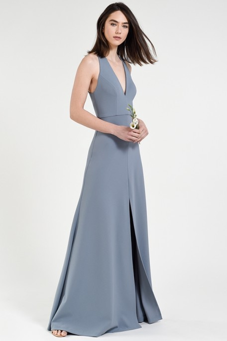 Jenny Yoo Bridesmaids Margot in Mayan Blue periwinkle dusty blue color knit crepe at Gilded Social